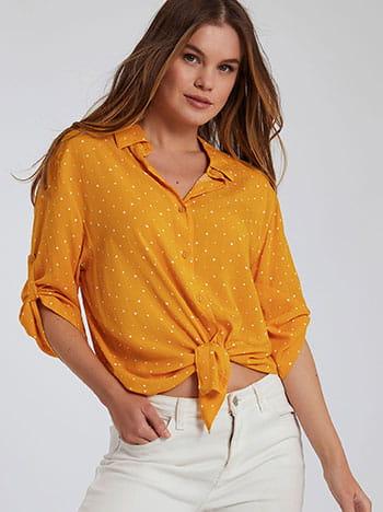 Πουά πουκάμισο, κλείσιμο με κουμπιά, γυριστό μανίκι με κουμπί, 3/4 μανίκι, λευκο κιτρινο