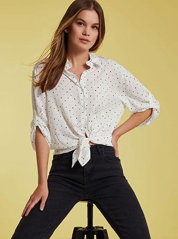 Πουά πουκάμισο, κλείσιμο με κουμπιά, γυριστό μανίκι με κουμπί, 3/4 μανίκι, ασπρο-μαυρο
