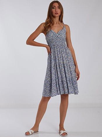 Κρουαζέ midi φόρεμα, ρυθμιζόμενες τιράντες, χωρίς κούμπωμα, γαλαζιο λευκο