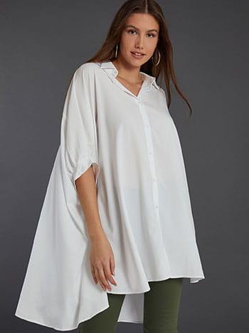 Μακριά πουκαμίσα, ασύμμετρο τελείωμα, 3/4 μανίκι, κλασικός γιακάς, κλείσιμο με κουμπιά, λευκο