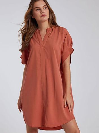 Oversized φόρεμα, κοντό μανίκι, χωρίς κούμπωμα, κοραλι