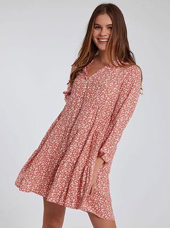 Βαμβακερό φόρεμα, v λαιμόκοψη, χωρίς κούμπωμα, 3/4 μανίκι, κοραλι λευκο