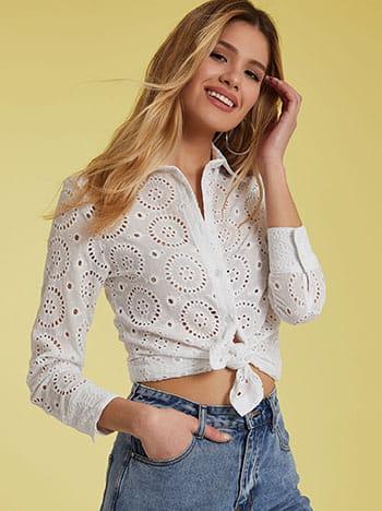 Διάτρητο πουκάμισο, κλείσιμο με κουμπιά, κλασικός γιακάς, λευκο