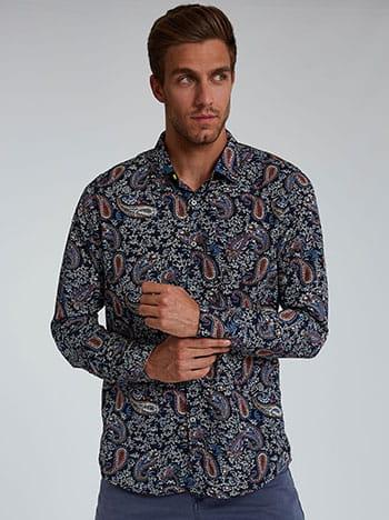 Εμπριμέ ανδρικό πουκάμισο, κλείσιμο με κουμπιά, κλασικός γιακάς, μπλε