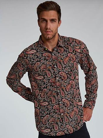 Εμπριμέ ανδρικό πουκάμισο, κλείσιμο με κουμπιά, κλασικός γιακάς, μαυρο