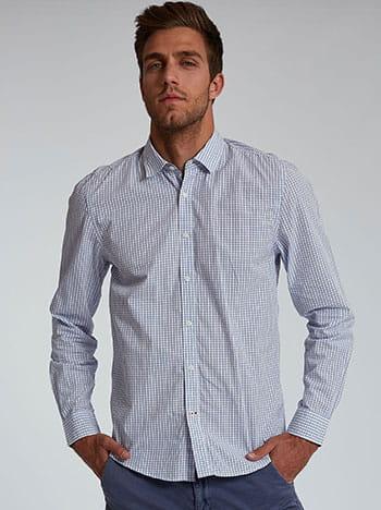 Βαμβακερό ανδρικό πουκάμισο, κλείσιμο με κουμπιά, κλασικός γιακάς, ασπρο-μπλε