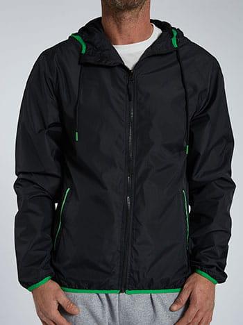 Αντιανεμικό ανδρικό μπουφάν, με κουκούλα, με τσέπες, κλείσιμο με φερμουάρ, μαυρο πρασινο