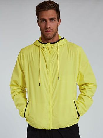 Αντιανεμικό ανδρικό μπουφάν, με κουκούλα, με τσέπες, κλείσιμο με φερμουάρ, φλουο κιτρινο μαυρο