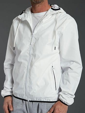 Αντιανεμικό ανδρικό μπουφάν, με κουκούλα, με τσέπες, κλείσιμο με φερμουάρ, ασπρο-μαυρο