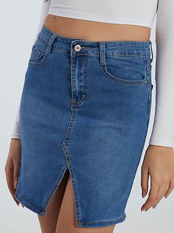 Τζιν φούστα με άνοιγμα, πέντε τσέπες, κλείσιμο με φερμουάρ και κουμπί, θηλιές στη μέση, ιντιγκο