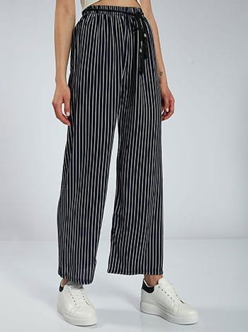 Ριγέ παντελόνα, ελαστική μέση, αποσπώμενη ζώνη, θηλιές στη μέση, χωρίς κούμπωμα, μπλε σκουρο λευκο