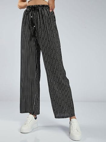 Ριγέ παντελόνα, ελαστική μέση, αποσπώμενη ζώνη, θηλιές στη μέση, χωρίς κούμπωμα, μαυρο λευκο