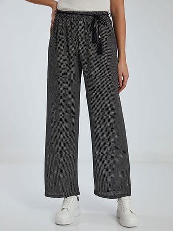 Πουά παντελόνα, αποσπώμενη ζώνη, ελαστική μέση, μαυρο