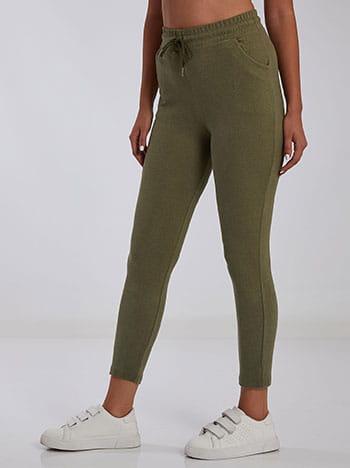 Ψηλόμεσο παντελόνι φόρμας, ελαστική μέση, εσωτερικό κορδόνι, ύφασμα με ελαστικότητα, xaki anoixto
