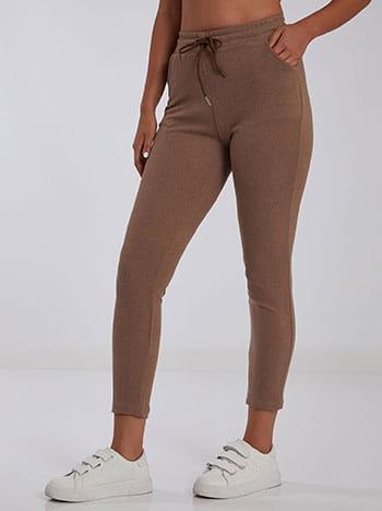 Ψηλόμεσο παντελόνι φόρμας, ελαστική μέση, εσωτερικό κορδόνι, ύφασμα με ελαστικότητα, καφε