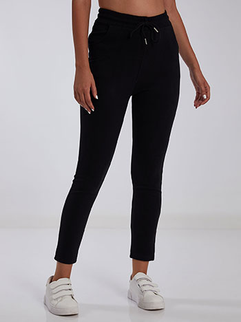 Ψηλόμεσο παντελόνι φόρμας, ελαστική μέση, εσωτερικό κορδόνι, ύφασμα με ελαστικότητα, μαυρο