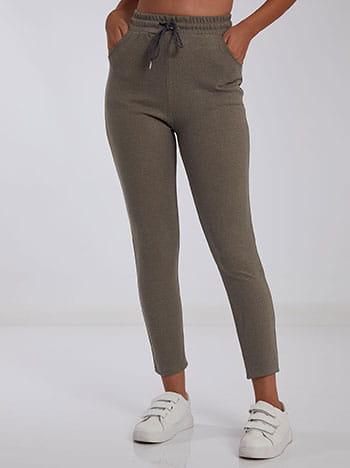 Ψηλόμεσο παντελόνι φόρμας, ελαστική μέση, εσωτερικό κορδόνι, ύφασμα με ελαστικότητα, καφε ανοιχτο