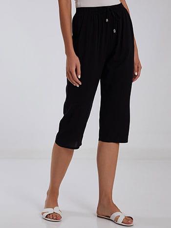 Κάπρι βαμβακερή παντελόνα, ελαστική μέση, με τσέπες, διακοσμητικό κορδόνι, μαυρο
