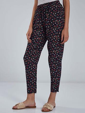 Floral παντελόνι, ελαστική μέση, με τσέπες, διακοσμητικό κορδόνι, μπλε σκουρο κοκκινο