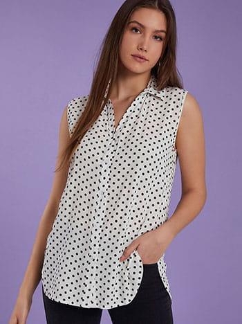Πουά αμάνικο πουκάμισο, κλείσιμο με κουμπιά, κλασικός γιακάς, καμπύλη στο τελείωμα, ανοίγματα στο πλάι, ασπρο-μαυρο