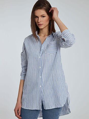 Ριγέ μακρύ πουκάμισο, με τσέπη, γυριστό μανίκι με κουμπί, άνοιγμα στο πλάι, κλασικός γιακάς, ασύμμετρο τελείωμα, γαλαζιο λευκο