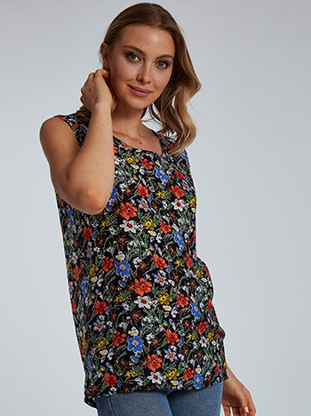 Floral βαμβακερή μπλούζα, στρογγυλή λαιμόκοψη, απαλή υφή, μιχ 1