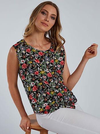 Floral βαμβακερή μπλούζα, στρογγυλή λαιμόκοψη, απαλή υφή, μιχ 2