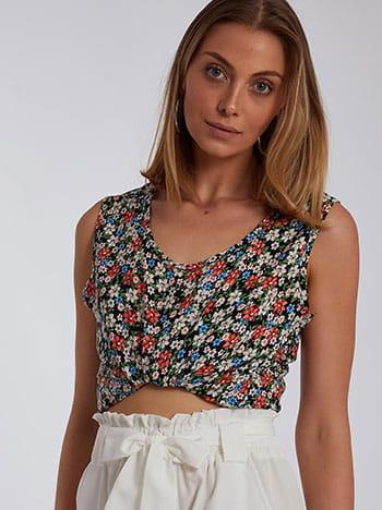 Αμάνικη μπλούζα με λουλούδια, στρογγυλή λαιμόκοψη, χωρίς κούμπωμα, μιχ 2
