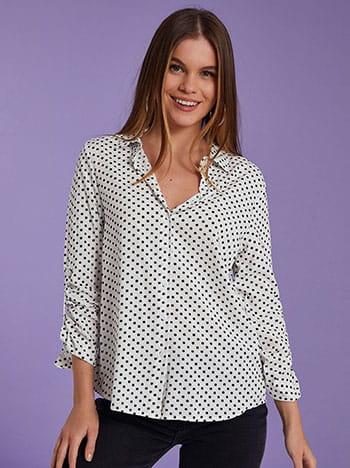Βαμβακερό πουά πουκάμισο, κλασικός γιακάς, γυριστό μανίκι με κουμπί, ασπρο-μαυρο