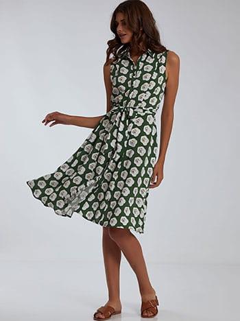 Φόρεμα με λουλούδια, αποσπώμενη ζώνη, κλείσιμο με κουμπιά, πρασινο