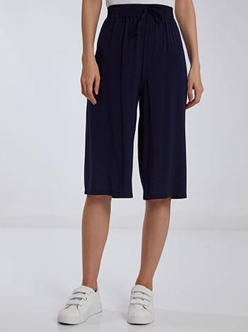Βαμβακερή κάπρι παντελόνα, ελαστική μέση, διακοσμητικό κορδόνι, σκουρο μπλε