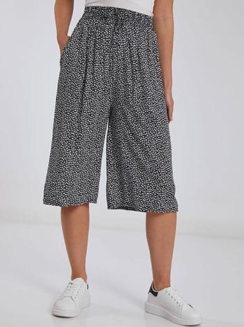 Crop παντελόνα, ελαστική μέση, με τσέπες, διακοσμητικό κορδόνι, μπλε σκουρο λευκο