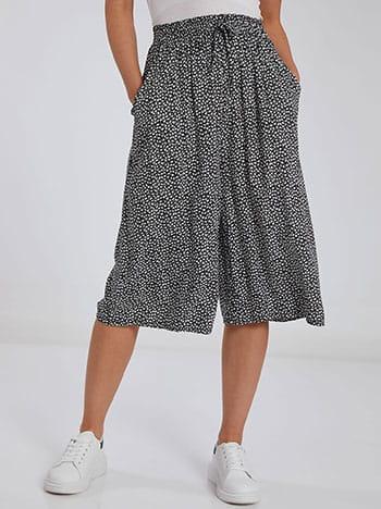 Crop παντελόνα, ελαστική μέση, με τσέπες, διακοσμητικό κορδόνι, μαυρο λευκο
