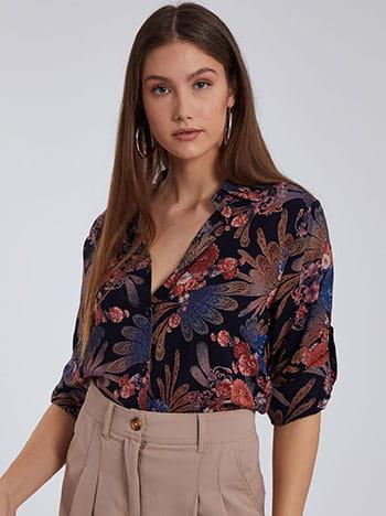 Floral ασύμμετρο πουκάμισο, κλείσιμο με κουμπιά, 3/4 μανίκι, γυριστό μανίκι με κουμπί, μιχ 1