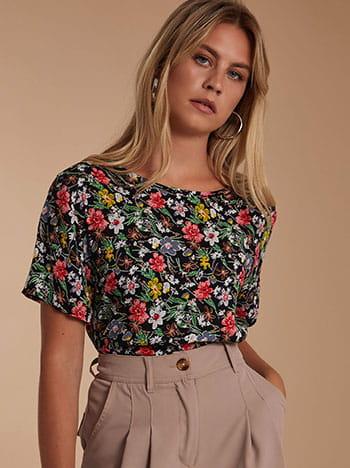Floral μπλούζα, στρογγυλή λαιμόκοψη, μιχ 1