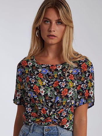 Floral μπλούζα, στρογγυλή λαιμόκοψη, μιχ 2