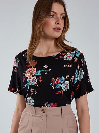 Floral μπλούζα, στρογγυλή λαιμόκοψη, μαυρο