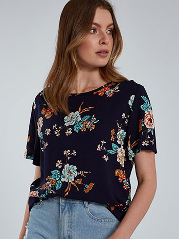 Floral μπλούζα, στρογγυλή λαιμόκοψη, σκουρο μπλε