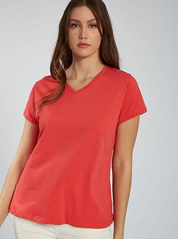 Κοντομάνικη μπλούζα με βαμβάκι, v λαιμόκοψη, ύφασμα με ελαστικότητα, κοραλι