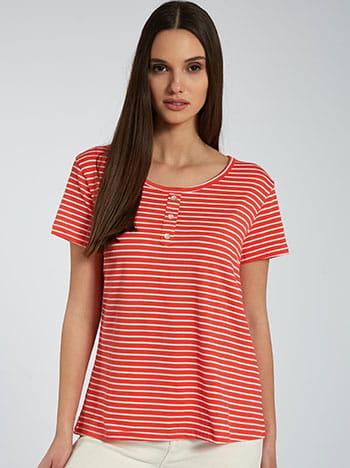 Ριγέ μπλούζα με διακοσμητικά κουμπιά, στρογγυλή λαιμόκοψη, ύφασμα με ελαστικότητα, κοραλι λευκο