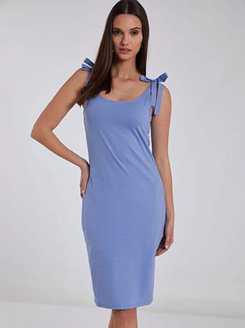 Φόρεμα με δέσιμο στους ώμους, στρογγυλή λαιμόκοψη, ύφασμα με ελαστικότητα, γαλαζιο