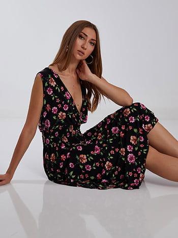 Floral maxi φόρεμα, κρουαζέ, ελαστική μέση, μιχ 1