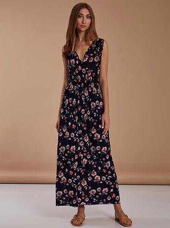 Floral maxi φόρεμα, κρουαζέ, ελαστική μέση, μιχ 2