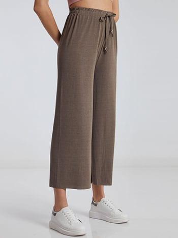 Ριπ παντελόνα, ελαστική μέση, διακοσμητικό κορδόνι, μπεζ σκουρο