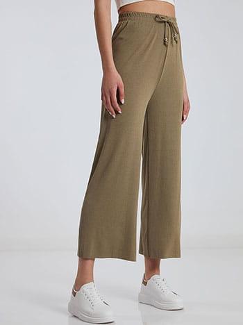 Ριπ παντελόνα, ελαστική μέση, διακοσμητικό κορδόνι, λαδι ανοιχτο