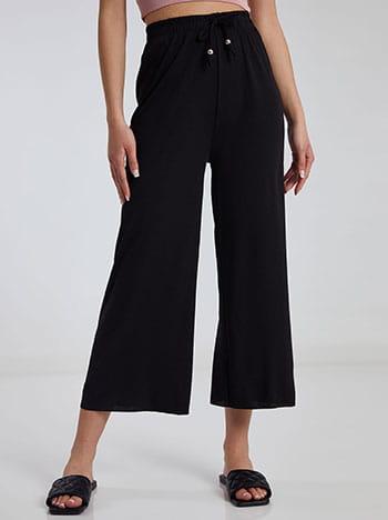 Ριπ παντελόνα, ελαστική μέση, διακοσμητικό κορδόνι, μαυρο