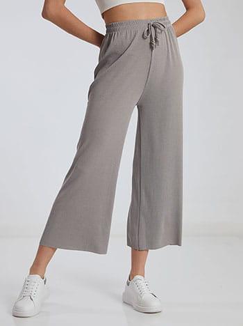 Ριπ παντελόνα, ελαστική μέση, διακοσμητικό κορδόνι, γκρι