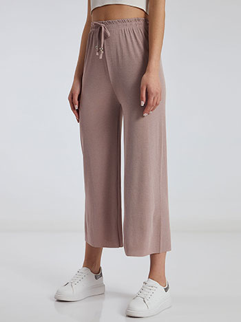 Ριπ παντελόνα, ελαστική μέση, διακοσμητικό κορδόνι, σαπιο μηλο