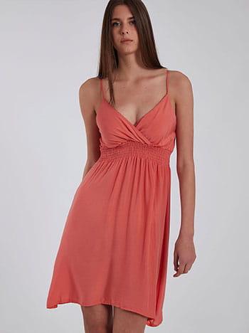 Φόρεμα με τιράντες, κρουαζέ, με σφηκοφωλιά, χωρίς κούμπωμα, ρυθμιζόμενες τιράντες, κοραλι