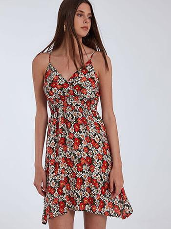 Floral φόρεμα, ρυθμιζόμενες τιράντες, κρουαζέ, μαυρο